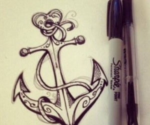 anchor, heart, and ink image