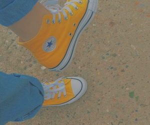 yellow, converse, and all star image