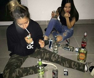 alcohol, girl, and friends image