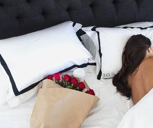 rose, bed, and couple image