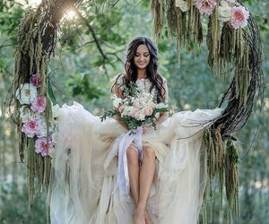 wedding, fashion, and flowers image