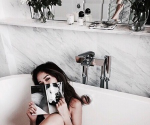 girl, bath, and magazine image