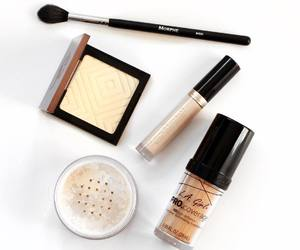 makeup, white, and beauty products image