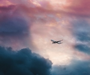 airplane, clouds, and colors image