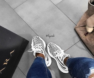 black & white, shoes sneakers, and fashion style image