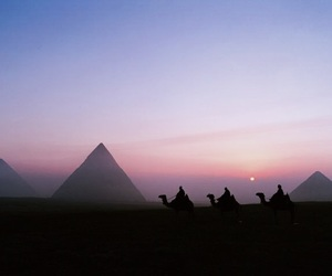 egypt, pyramid, and sunset image