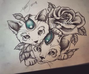 cats, tattoosketch, and blacktattoos image