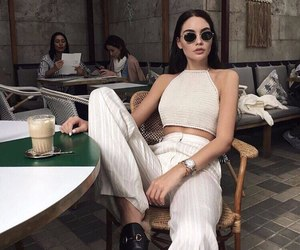 cafe, girl, and glasses image