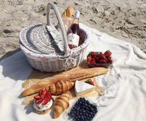 beach, picnic, and food image