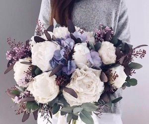 flowers, purple, and white image