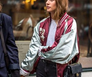 fashion, street style, and bomber jacket image