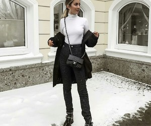 black boots, fashion, and knitwear image