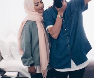 couple, hijab, and fashion image