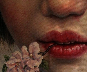 art, flowers, and lips image