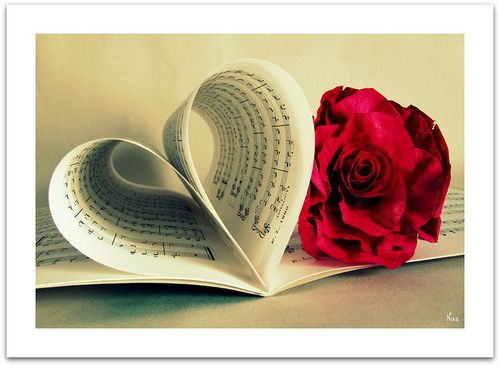 love, rose, and music image