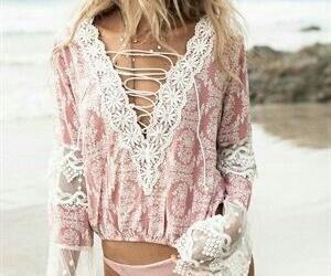 beach, sun, and blonde image