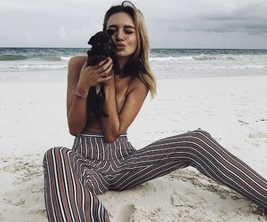 girl, beach, and dog image