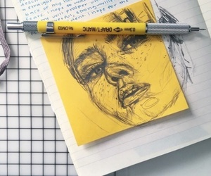 yellow, art, and drawing image
