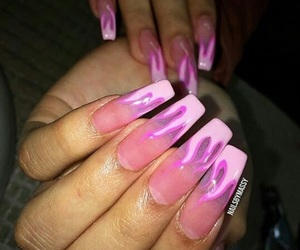 fire, pink, and longnails image
