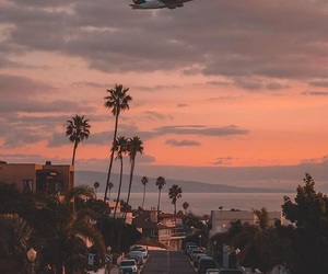sunset, travel, and airplane image