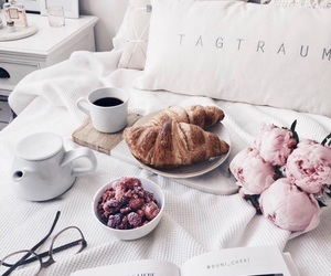 bed, morning, and breakfast image