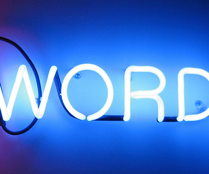 words, neon, and blue image