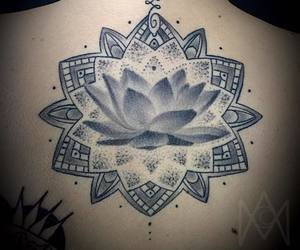 black and white, flower, and lotus image