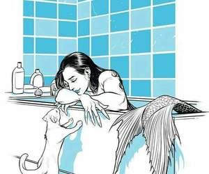 mermaid, art, and cat image