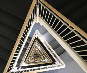 geometric, perspective, and stairway image