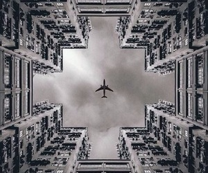 airplane, black and white, and building image