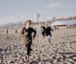 band, beach, and boys image