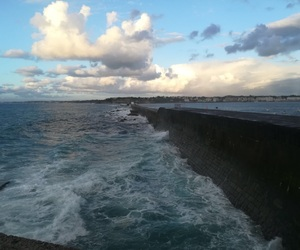 france, waves, and clouds image