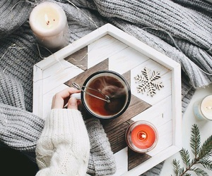candles, sweater, and tea image