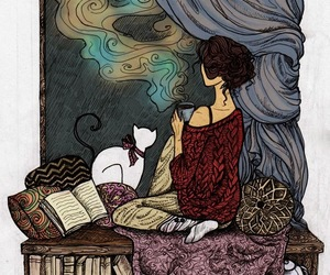 book, cat, and drawing image