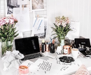 home, flowers, and study image