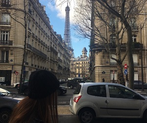 city, girl, and effeil tower image