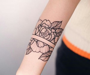 flower, ink, and rose image