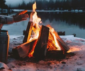 adventure, fire, and outdoors image