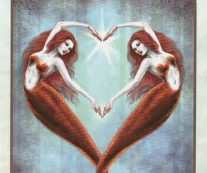 telepathy redhead mermaid and heart mermaids image