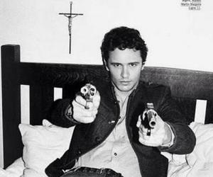james franco, gun, and black and white image
