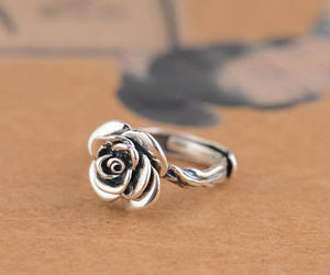 etsy, rose flower, and sterling silver image
