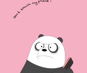 wallpaper, panda, and pink image