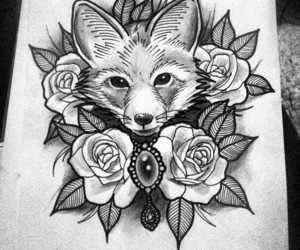 fox, tattoo, and art image