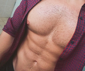 abs, hairy, and bare chested image