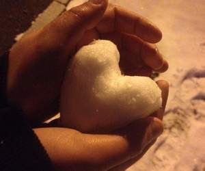 heart, snow, and white heart image