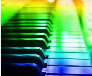 piano, music, and rainbow image
