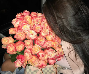 rose, bouquet, and brunette image