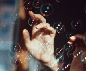 bubbles, photography, and hand image