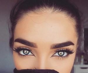 eyebrows, make, and eyes image