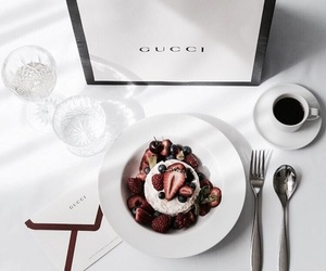 gucci, food, and coffee image